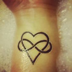 Mother Daughter Symbols Tattoo Infinity | Heart infinity tattoo idea. Add more softness to the image and names.