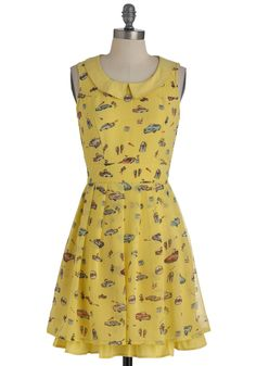 Let's Go for a Drive-In Dress by Yumi - Yellow, Multi, Novelty Print, Peter Pan Collar, Party, Vintage Inspired, A-line, Sleeveless, Tiered, Mid-length, Belted
