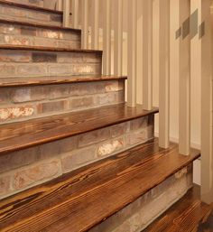 """""""Cape Lookout"""" thin brick going places no brick has gone before! Interior Stairs, Diy Staircase, Staircase Decor, Foyer Decorating, Staircase Design, Home Remodeling, Brick, Brick Interior, Brick Steps"""