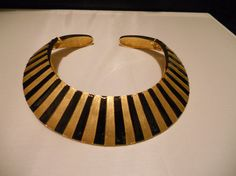A Fabulous Looking Vintage Gold Tone/Black Stripe Collar