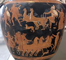 Rape of Persephone. Hades with his horses and Persephone (down). An Apulian red-figure volute krater, ca 340 BC.