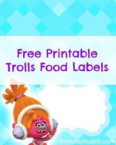 These free printable Trolls food labels would be a great addition to your party. On each food label template is a spot to type in the name of the food. Trolls Birthday Party, Party Favors For Kids Birthday, Troll Party, 3rd Birthday Parties, 2nd Birthday, Birthday Ideas, Birthday Decorations, Food Label Template, Party Food Labels