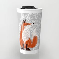 The Fox Says Travel Mug by christinamaria Ceramic Cafe, Painted Coffee Mugs, Fox Decor, Little Fox, Fox Art, Stuff And Thangs, Woodland Creatures, Cute Mugs, Red Fox