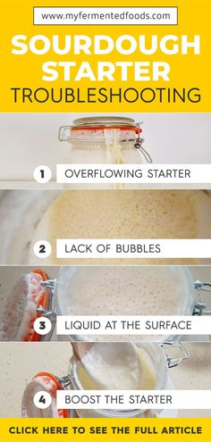 Learn how to troubleshoot your homemade sourdough starter. Sourdough Starter Discard Recipe, Sourdough Recipes, Bread Recipes, Baby Food Recipes, Cooking Recipes, Starter Recipes, Disney Recipes, Disney Food, Filet Mignon Chorizo