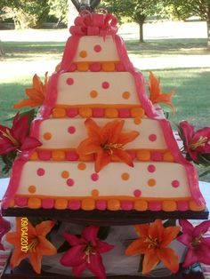 Orange and pink wedding cake