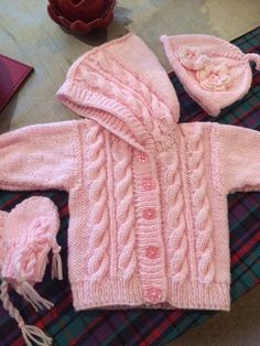 Lovely cardigan with a hood , cabled front and around hood Baby Boy Knitting Patterns Free, Aran Knitting Patterns, Baby Cardigan Knitting Pattern, Baby Girl Patterns, Knitting For Kids, Crochet For Kids, Baby Born Clothes, Cardigan Bebe, Baby Sweaters