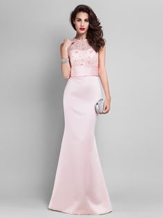 TS Couture Prom / Military Ball / Formal Evening Dress - Pearl Pink Plus Sizes / Petite Trumpet/Mermaid Jewel Floor-length Satin / Lace - USD $ 99.99