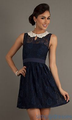 Short Sleeveless Lace Dress