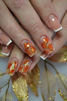 осень,ногти,мода,ноготочки,цветы,лист,