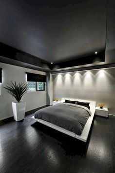 Modern master bedroom design - 48 Modern Tiny Bedroom With Black And White Designs Ideas For Small Spaces – Modern master bedroom design Black And Grey Bedroom, Grey Bedroom Decor, Modern Master Bedroom, Modern Bedroom Design, Master Bedroom Design, Minimalist Bedroom, Bedroom Designs, Minimalist Apartment, Bedroom Furniture
