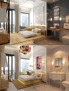 Here we see two different visualizations for the same room, one that showcases colorful pop art while the other utilizes more subdued tones - swan chair replaces the more reserved Bertoia Diamond, sunken bed changes to a very flamboyant yellow one and sinks, lamp shades & mirrors all match the more vibrant mood.