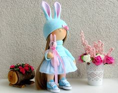 Liebre conejo de Marie hecha a mano muñeca por NICEDOLLSANDRABBITS