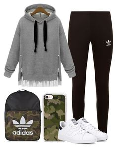 chill outfit by mrsavocado on Polyvore featuring WithChic, adidas Originals and Casetify
