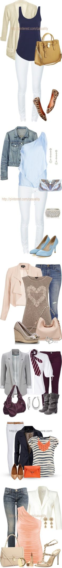 """""""Dressy Jean Sets"""" by madamegeorge ❤ liked on Polyvore"""