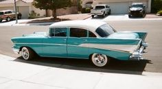 1957 Chevy Bel Air Sedan For Sale - Turquoise and White