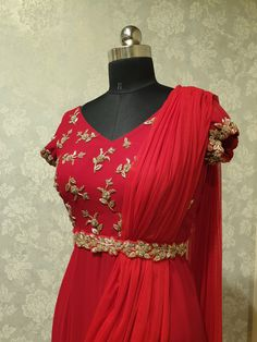 Work Dresses For Women, Wedding Dresses For Girls, Girls Dresses, Clothes For Women, Saree Gown, Anarkali Dress, Embroidery On Clothes, Floral Embroidery, Saree Blouse Designs