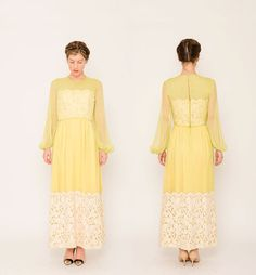 Neon 1960s Dress . Lace Cut Out Maxi . Chiffon Floor Length