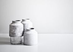 Delicate Concrete Vase  Willmann Vase by Hanne Willmann has a glass base and a concrete lid