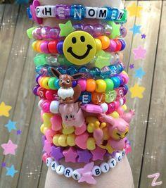 """"""" some of my everyday kandi ❤ """" Aesthetic Indie, Rainbow Aesthetic, Pink Aesthetic, Aesthetic Clothes, Aesthetic Bedroom, Aesthetic Images, Kandi Bracelets, Charm Bracelets, Mode Kawaii"""