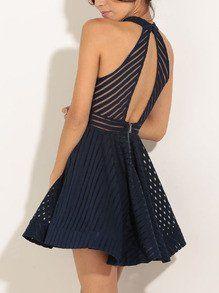 Navy Sleeveless Hollow Flare Dress