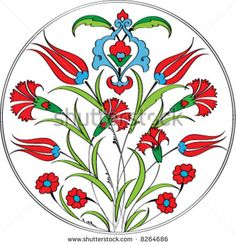 Traditional ottoman tulip carnation plate design