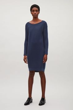 COS image 1 of Ribbed merino-wool dress  in Blue
