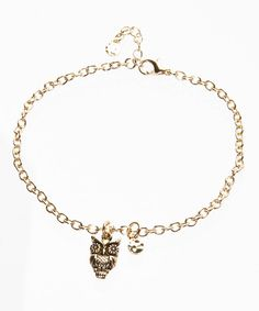 Look at this Goldtone Owl Anklet on #zulily today!
