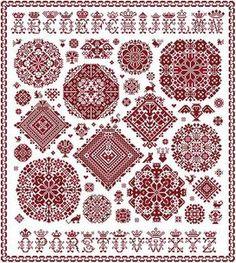 Kruissteek merklap Sampler à la Vierlanden in twee rode kleuren met Vierlanden rosette en een kegroond alfabet