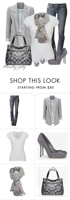 """""""Shades of Gray"""" by sanchez-gaby ❤ liked on Polyvore featuring Wallis, White Stuff, Sergio Rossi, Rose & Rose, Coach and Blue Nile"""
