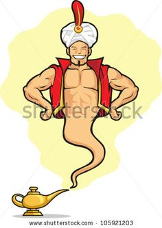 stock vector : Genie Appear from Magic Lamp