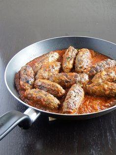 Greek meat sausages with tomato sauce - Soutzoukakia Smyrneika. My favourite dish while I was in Greece!