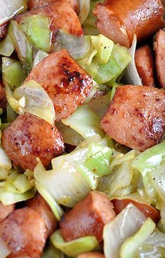 Low carb cabbage recipes Kielbasa and Cabbage Skillet Gluten free • Serves 4 Meat: 2 lbs Polska kielbasa, fully cooked Produce: 3 cloves Garlic 1 Head cabbage 1 Sweet onion, large Condiments: 1 tsp Dijon or brown grainy mustard Baking & Spices: t Pork Recipes, Slow Cooker Recipes, Paleo Recipes, Low Carb Recipes, Dinner Recipes, Cooking Recipes, Easy Recipes, Cooking Games, Meat Recipes