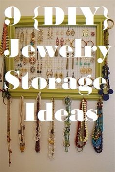 Repurposing anything into Jewelry Organizer!  9 fun Jewelry organization Ideas. Find more great jewelry storage and display ideas on my Creative Jewelry Storage board: http://www.pinterest.com/nikolena/creative-jewelry-storage/
