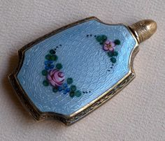 Antique Guilloché Perfume Bottle Silver Toned with Gold Wash