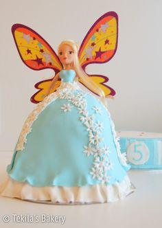 keijukakku. Fairy barbie cake with wings.