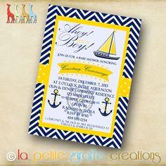 Printable Baby Shower Invitation  Nautical by LaPetiteGiraffe