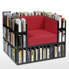 Bibliochaise; comes with ottoman? similar designs claim to hold 300 some books :)