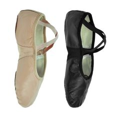 Ballet Leather Shoes Crossed Elastics Full Sole