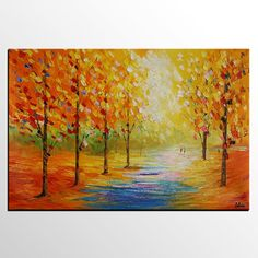 Autumn Tree Painting, Large Oil Painting, Canvas Art Painting, Landscape Painting - Silvia Home Craft Tree Painting Easy, Love Birds Painting, Simple Oil Painting, Large Painting, Seascape Paintings, Oil Painting Abstract, Landscape Paintings, Oil Paintings, Abstract Art