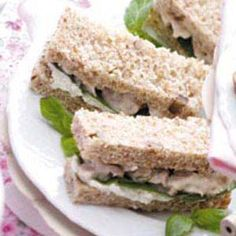Nutty Chicken Sandwiches ~ Crushed pineapple gives these chicken salad sandwiches a bit of sweetness, while pecans add a bit of crunch!  Great for Tea Parties or any gathering!