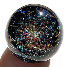 """~ Spectacular Timothy Mazet Blue Galaxy Dichroic Marble ~ 1 9/16""""  2014  NEW!"""
