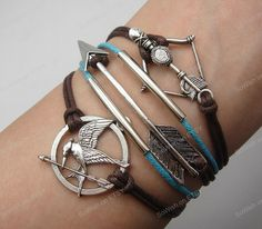 arrow bracelet the hunger games bow & silver tube by sowish, $8.99