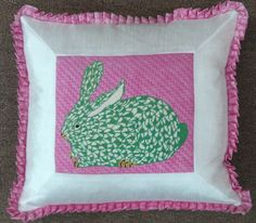 Kate Dickerson fishnet bunny, stitched by Jane Hayes & finished by Funda Scully