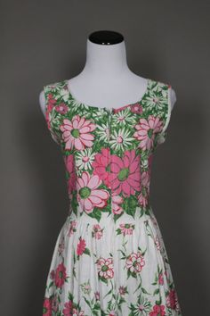 Vintage Summer Dress 60s 1960s Floral White by persnicketyvintage, $64.50
