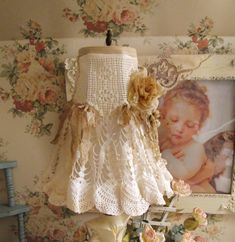 shabby chic lace lamp shade hand made vintage materials boudoir vanity shade