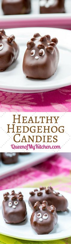 """Healthy Hedgehog Candies – A small bite treat made with healthy ingredients that you can enjoy guilt-free. If you have kids they'll never know this isn't """"real"""" candy.   QueenofMyKitchen.com"""