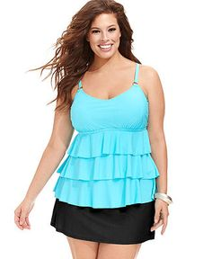 Island Escape Plus Size Tiered-Ruffle Tankini Top & Solid Swim Skirt - Plus Size Swimwear - Plus Sizes - Macy's