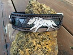 Foxy needs this collar; just saying. Wolves at Play Hand Tooled Leather Dog Collar by FinelyTooled
