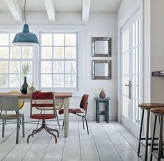 Dining Room Furniture - Plan White interior Design equipped with Simple Colorful Vintage Chair Sets