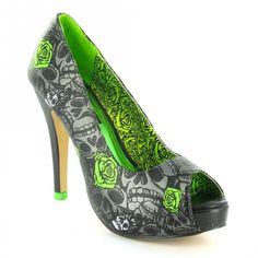 Iron Fist Muerte Punk Womens PU Peep-Toe High Stiletto Heel Platform Shoes - Gun Metal Grey + Lime Green - SWEET!